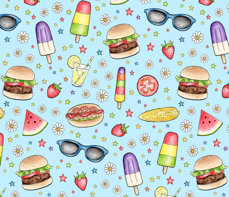 Summer Barbecue on pale blue fabric by hazelfishercreations on Spoonflower - custom fabric