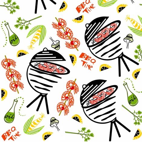 Shrimpy bbq time  sewindigo fabric by sewindigo on Spoonflower - custom fabric