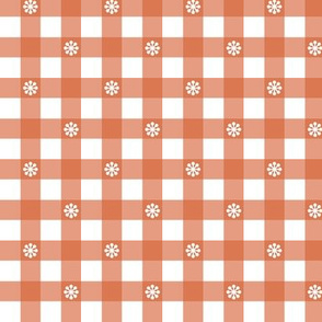 Gingham - Coral Daisies