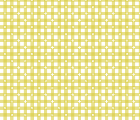 Gingham - Mustard Daisies fabric by lellobird on Spoonflower - custom fabric