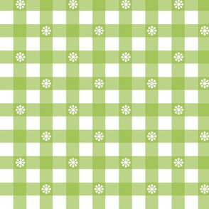 Gingham - Green Daisies