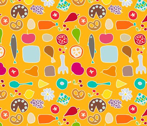 winter drawing of summer picnic fabric by domoshar on Spoonflower - custom fabric