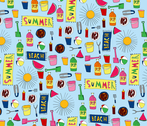 Beach Barbecue fabric by little_dove on Spoonflower - custom fabric