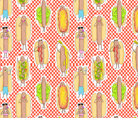 HOT DOGS ROLL fabric by nadinewestcott on Spoonflower - custom fabric
