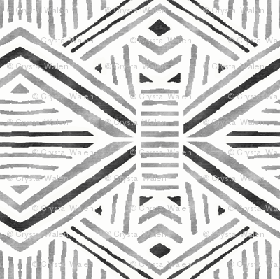 Tribal Geometric Black Silver White