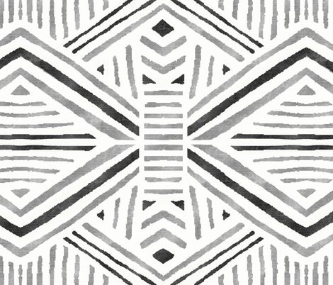 Tribal Geometric Black Silver White fabric by crystal_walen on Spoonflower - custom fabric