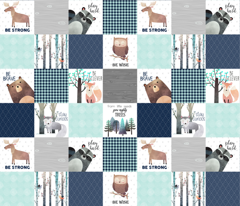 Woodland Critters Patchwork Quilt - Bear Moose Fox Raccoon Wolf, Navy & Crystal Mint Design GingerLous fabric by gingerlous on Spoonflower - custom fabric