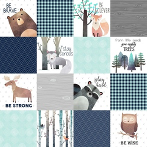 Woodland Critters Patchwork Quilt - Bear Moose Fox Raccoon Wolf, Navy & Crystal Blue Design GingerLous