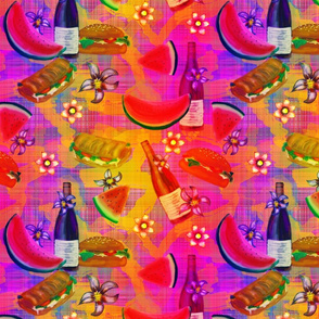 watermelon summer picnic fruity sunset on plaid