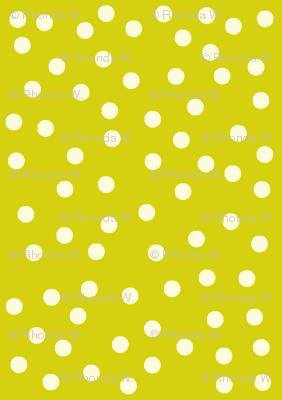 Twinkling Creamy Dots on Bush Lemon - Medium Scale