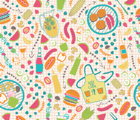 Summer BBQ fabric by ldpapers on Spoonflower - custom fabric