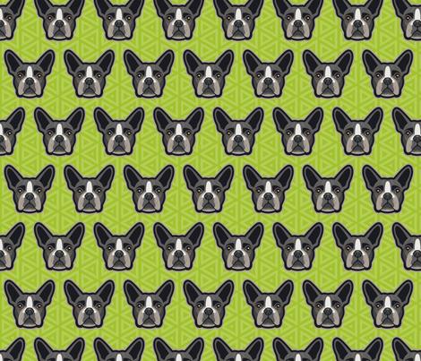 Boston Terrier Chartreuse Green Medium  fabric by mariafaithgarcia on Spoonflower - custom fabric