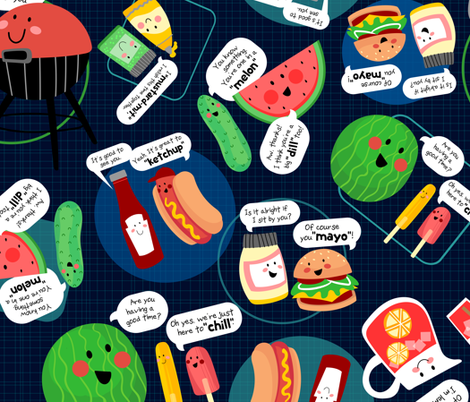 Friendly Barbecue fabric by sarah_treu on Spoonflower - custom fabric