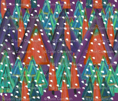 Paper Forest landscape purple