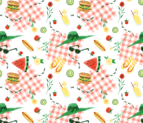 Summer Picnic fabric by polkadotwhalestudio on Spoonflower - custom fabric