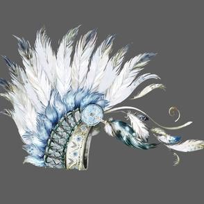 """42""""x36"""" Grey Background / Chief Headdress"""