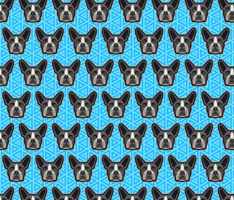 Boston Terrier Blue Medium fabric by mariafaithgarcia on Spoonflower - custom fabric
