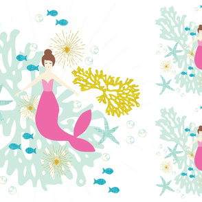1 blanket + 2 loveys: pink maui mermaid single motif brunette // no lines