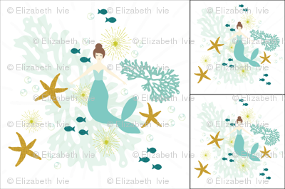 1 blanket + 2 loveys: caribbean mermaid single motif brunette