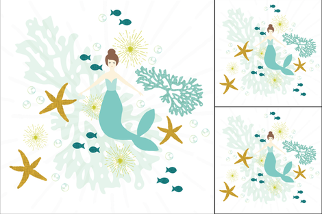 1 blanket + 2 loveys: caribbean mermaid single motif brunette fabric by ivieclothco on Spoonflower - custom fabric