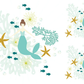 1 blanket + 2 loveys: caribbean mermaid single motif brunette // no lines