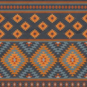 kilim orange grey