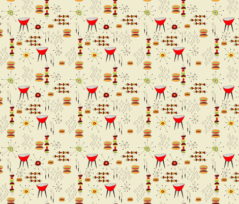 Midcentury Cookout fabric by ameemax on Spoonflower - custom fabric