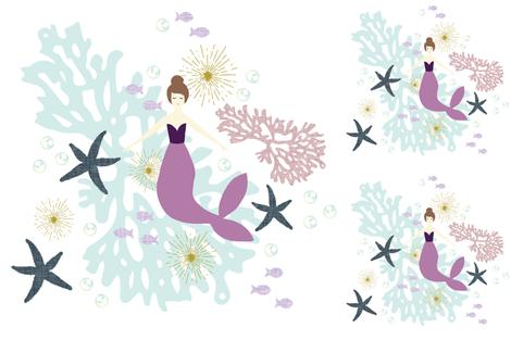1 blanket + 2 loveys: laguna mermaid single motif brunette // no lines fabric by ivieclothco on Spoonflower - custom fabric