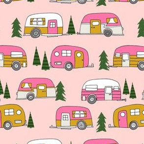 vintage camper // pink vintage retro camper van cute retro design camping camper van retro camper