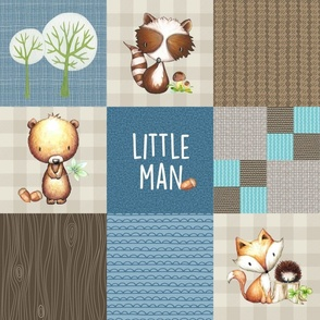 Woodland Little Man Patchwork Bear Raccoon Fox Quilt (cream, blue + brown) GingerLous