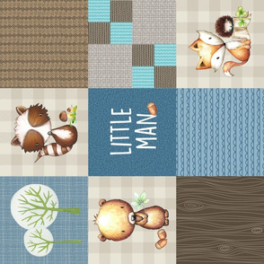 Woodland Little Man Patchwork Quilt Bear Raccoon Fox (cream, blue + brown) ROTATED GingerLous