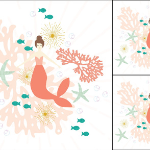 1 blanket + 2 loveys: coral reef mermaid single motif brunette