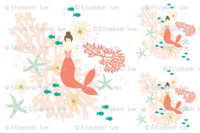 1 blanket + 2 loveys: coral reef mermaid single motif brunette // no lines