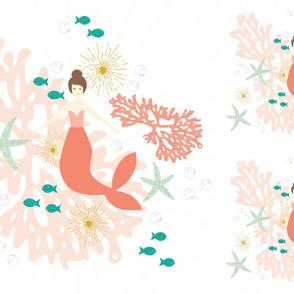 1 blanket + 2 loveys: coral reef mermaid single motif brunette // no lines