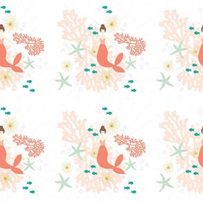 6 loveys: coral reef mermaid single motif brunette // no lines