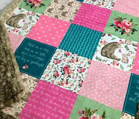 Bear & Bunny Patchwork Quilt (ROTATED) - Woodland Floral Pink + Teal Wholecloth Best Friends Coordinate for Girls GingerLous