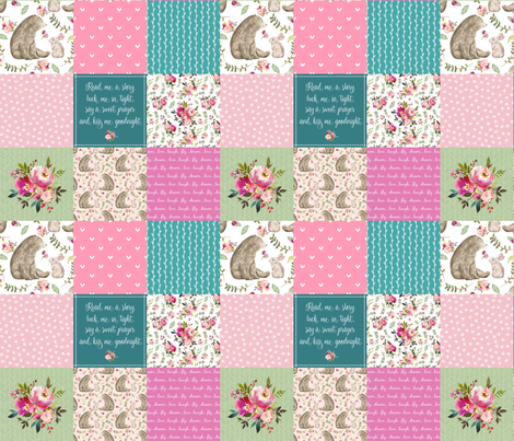 Bear & Bunny Patchwork Quilt - Woodland Floral Pink + Teal Wholecloth Best Friends Coordinate for Girls GingerLous fabric by gingerlous on Spoonflower - custom fabric