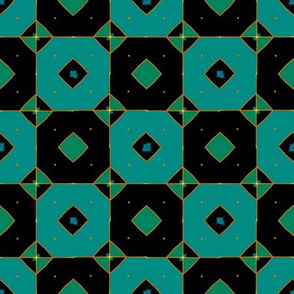 Black and Teal Squares