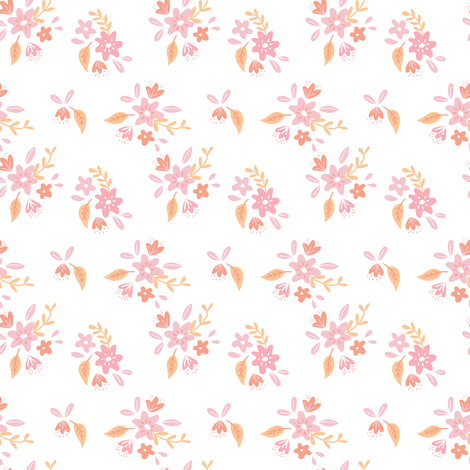 White and Pink Petite Floral fabric by alexazurcher on Spoonflower - custom fabric
