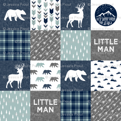Happy Camper / Little Man - bear and buck - navy and dusty blue