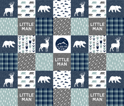 Happy Camper / Little Man - bear and buck - navy and dusty blue  fabric by littlearrowdesign on Spoonflower - custom fabric