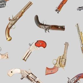 Antique Pistols on Grey // Large