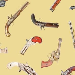 Antique Pistols on Tan // Large