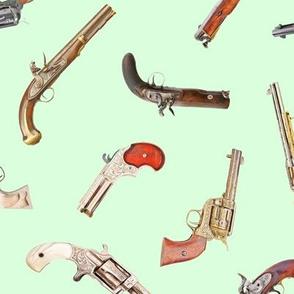 Antique Pistols on Light Green // Large