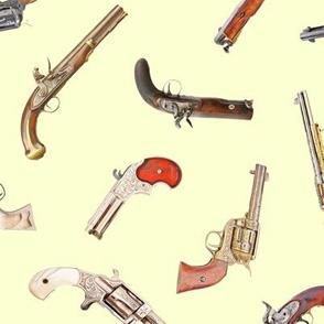 Antique Pistols on Pale Yellow // Large