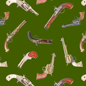 Antique Pistols on Green // Small