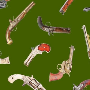 Antique Pistols on Green // Large