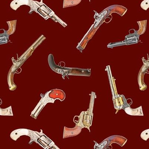 Antique Pistols on Burgundy // Small