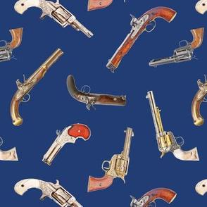 Antique Pistols on Navy Blue // Small