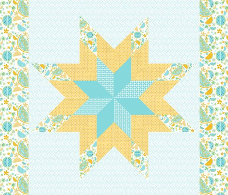 lone star small cheater quilt watermelon aqua